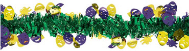 Mardi Gras Mask Tinsel Garland 15ft