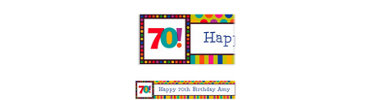 Birthday Dots & Stripes 70 Custom Banner 6ft
