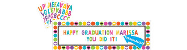 Colorful Commencement Personalized Giant Banner 65in