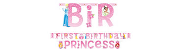 Disney Princess 1st Birthday Banner Combo Pack 2pc