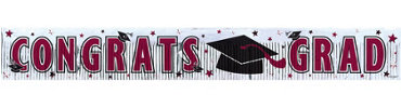 Burgundy Foil Fringe Graduation Banner 65in