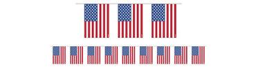 Plastic American Flag Pennant Banner