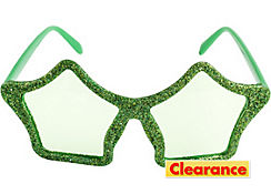 Glitter Green Star Glasses