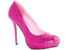 Fuchsia Glitter Open Toe Shoes