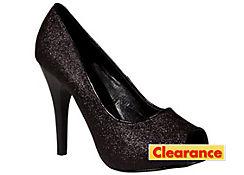 Black Glitter Peep-Toe Shoes