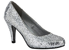 Silver Glitter High Heel Shoes