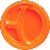 Orange Plastic Divided Dinner Plates 20ct