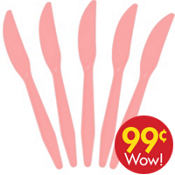 Value Pink Plastic Knives 20ct
