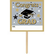 Golden Grad Graduation Yard Sign 14in x 15in