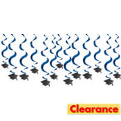 Royal Blue Hanging Swirl Graduation Decorations 24in 15ct