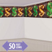 Casino Party Dollar Signs Border Roll 50ft