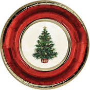 Classic Christmas Tree Metallic Dessert Plates 8ct