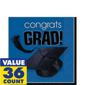 Congrats Grad Royal Blue Graduation Lunch Napkins 36ct