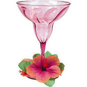 Floral Paradise Warm Plastic Margarita Glass 12oz