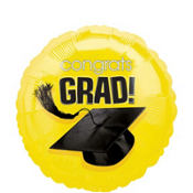 Foil Yellow Congrats Grad Graduation Balloon 18in