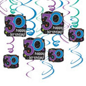 30th Birthday Foil Dangling Cutouts 12ct