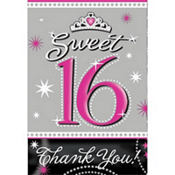 Sweet 16 Sparkle Invitations and Thank You Notes 20ct