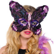 Purple Butterfly Feather Mardi Gras Mask