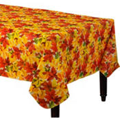 Elegant Leaves Vinyl Table Cover 52in x 90in