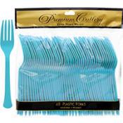 Caribbean Blue Premium Plastic Forks 48ct