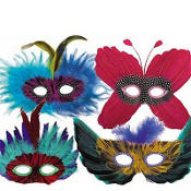 Colorful Feather Masks 4ct