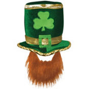 Leprechaun Hat with Beard 13 1/2in