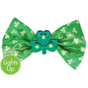 Light-Up St. Patricks Day Shamrock Bow Tie 6in