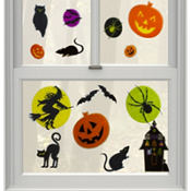 Vinyl Gruesome Group Window Decorations 16pc