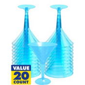 Transparent Blue Plastic Martini Glasses 8oz 20ct