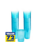 Transparent Blue Plastic Tumblers 10oz 72ct