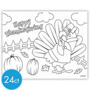 Thanksgiving Coloring Placemats 10in x 14in 24ct