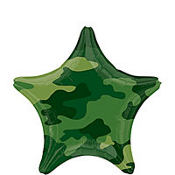 Foil Camouflage Star Birthday Balloon 19in