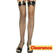 Adult Fishnet Thigh High Stockings with Dollar Bow