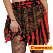 Adult Red and Black Fringe Pirate Skirt