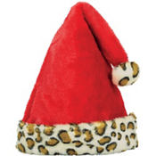Santa Hat with Animal Print Cuff