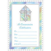 Value Pack Blue Communion Invitations 20ct