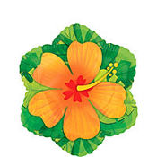 Foil Orange Hibiscus Balloon 18in