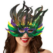 Jazzy Feather Mardi Gras Mask