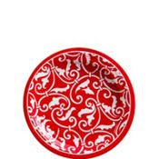Red Ornamental Scroll Dessert Plates 8ct