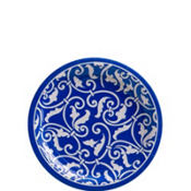 Royal Blue Ornamental Scroll Dessert Plates 8ct