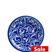 Royal Blue Ornamental Scroll Dessert Plates 8ct