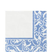 Pastel Blue Ornamental Scroll Lunch Napkins 16ct
