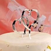 Double Hearts Wedding Cake Topper