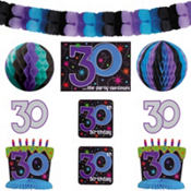 The Party Continues 30th Birthday Decorating Kit 9pc
