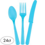 Caribbean Blue Plastic Cutlery Set 24ct