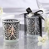 Black Damask Candle Holder