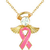 Breast Cancer Awareness Angel Pendant Necklace