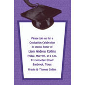 Purple Congrats Grad Custom Graduation Invitation
