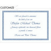 Blue Tapestry Border Custom Invitation