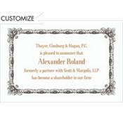 Black Moulding Border/White Custom Invitation